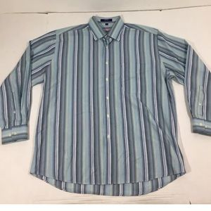 Alan Flusser Striped Multicolored Dress Shirt L